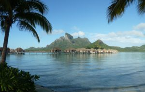 over the wather bungalows at Four Seasons in Bora Bora