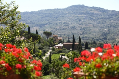 Il Falconiere overlooking the historic town of Cortona